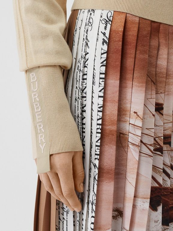 Logo Detail Merino Wool Silk Sweater in Pale Ochre - Women | Burberry - cell image 1
