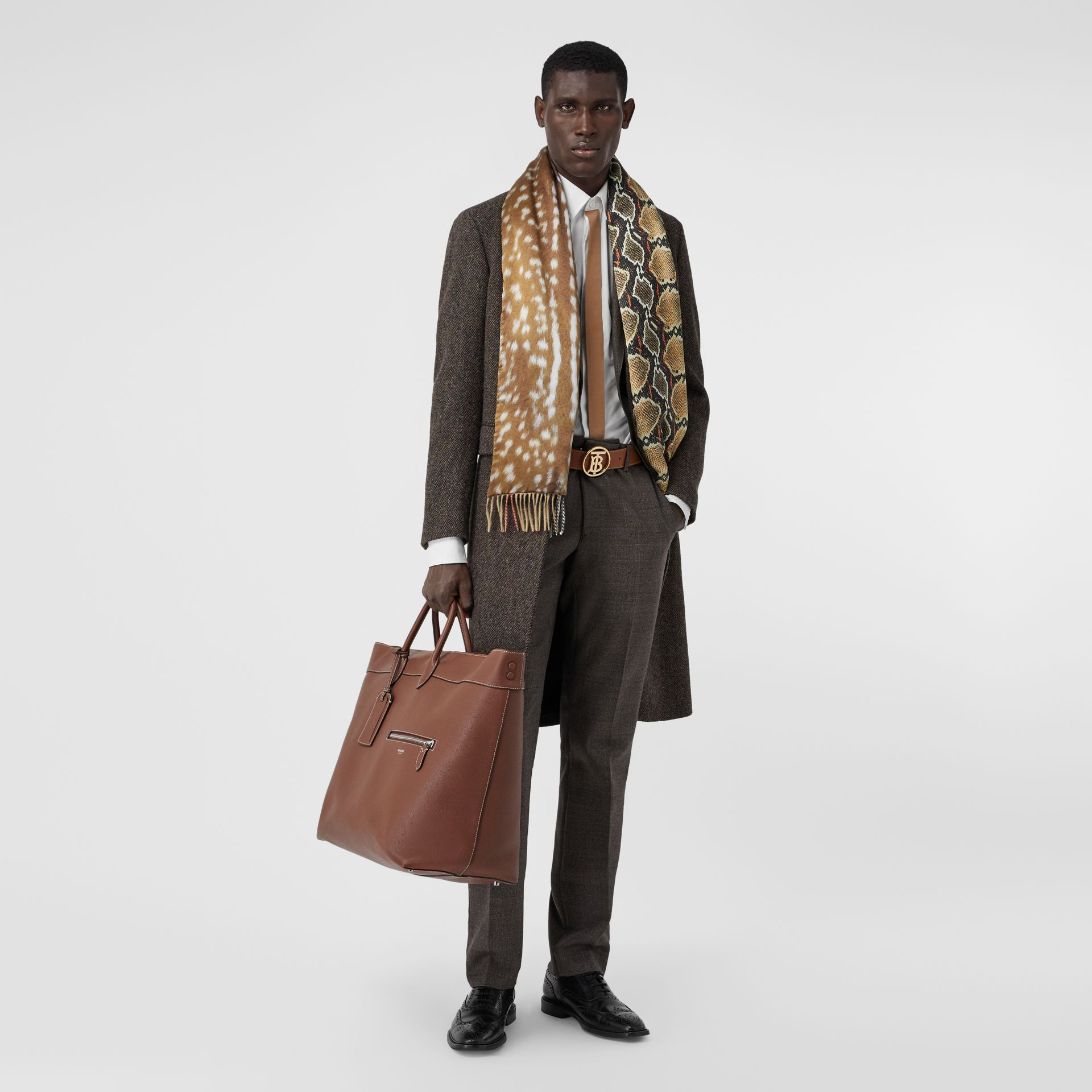 Check and Animal Print Cashmere Silk Puffer Scarf in Honey | Burberry Australia - gallery image 7