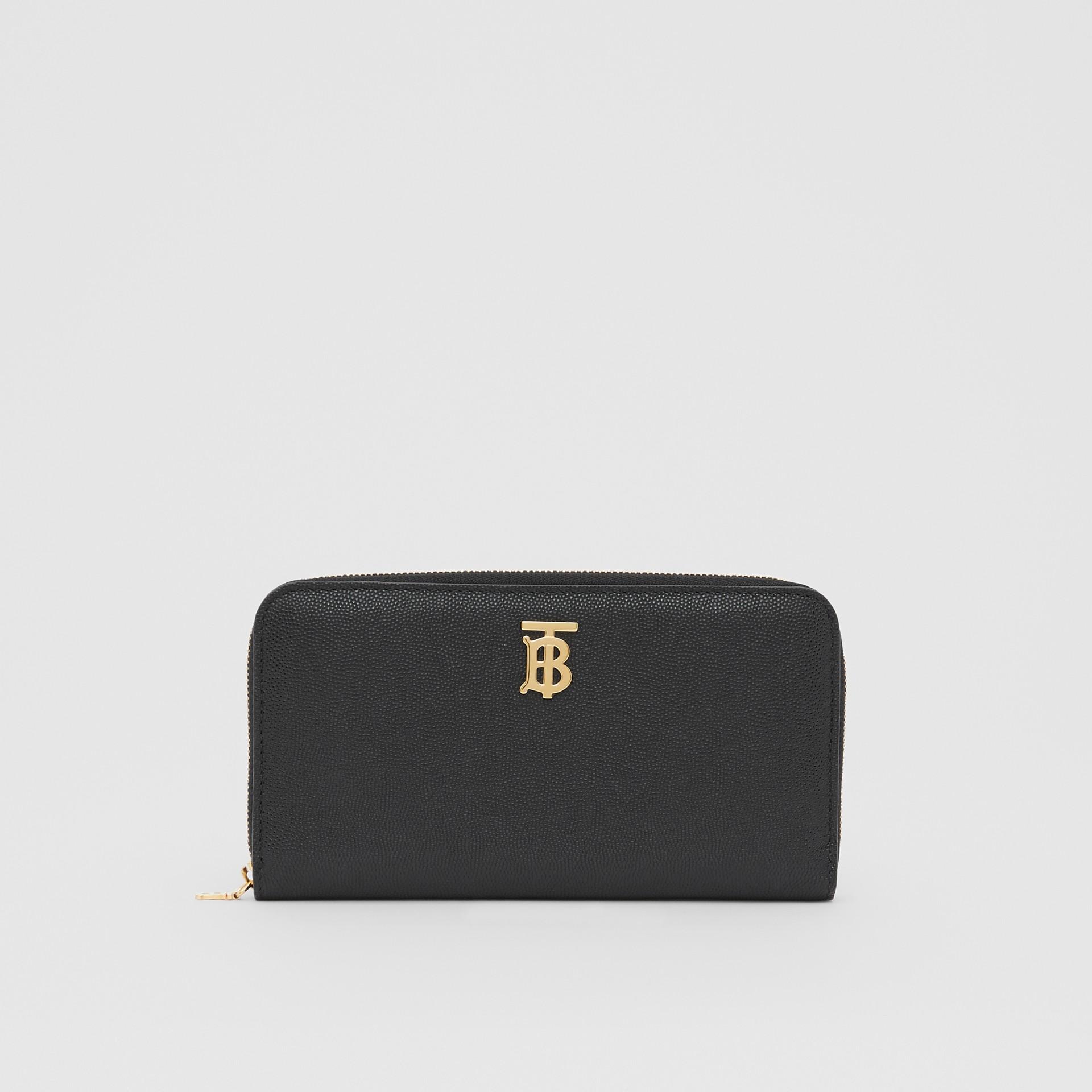 Portefeuille zippé en cuir grainé Monogram (Noir) - Femme | Burberry - photo de la galerie 0