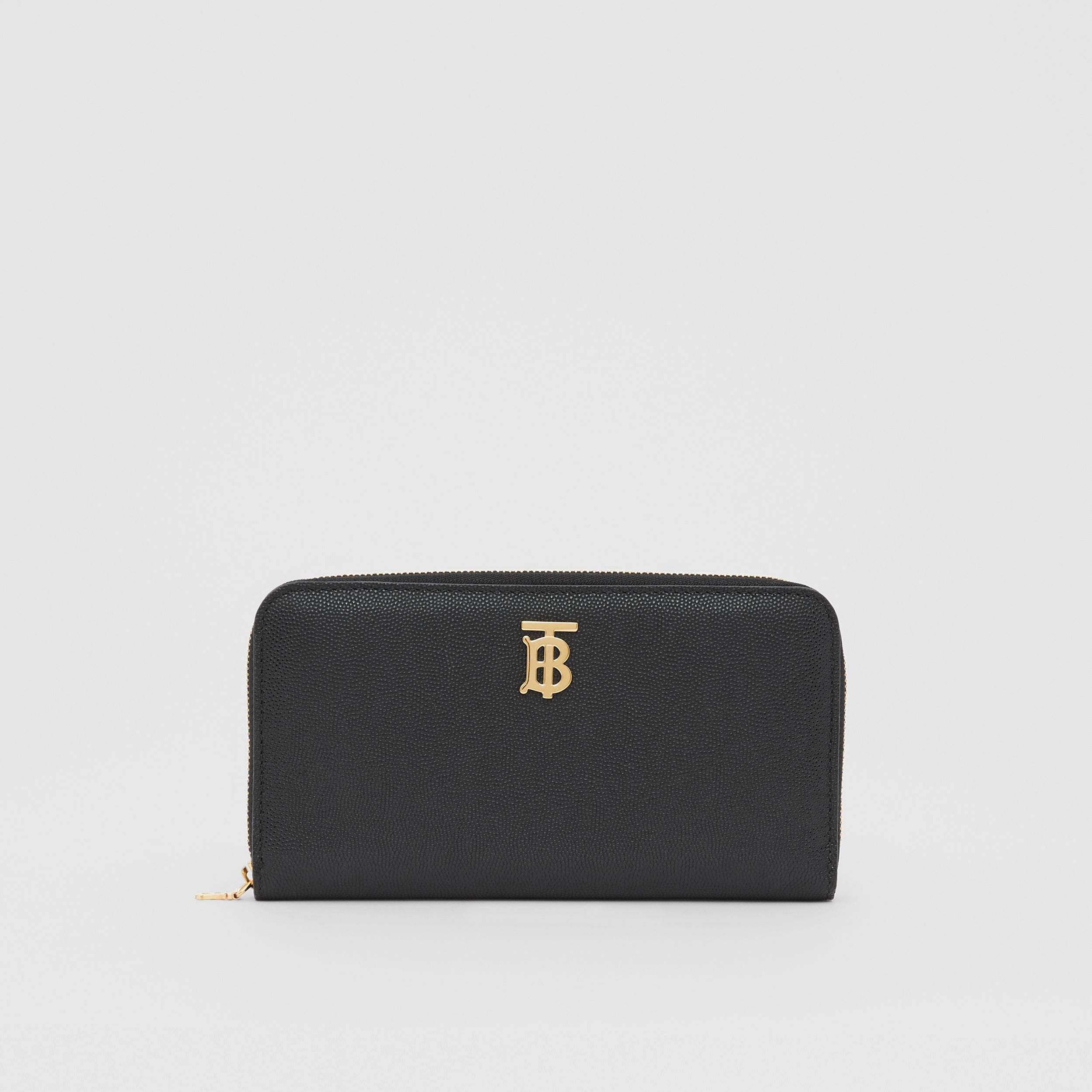 Monogram Motif Grainy Leather Ziparound Wallet in Black - Women | Burberry - 1