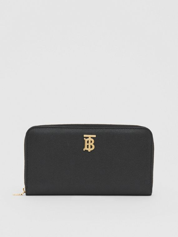 Monogram Motif Grainy Leather Ziparound Wallet in Black