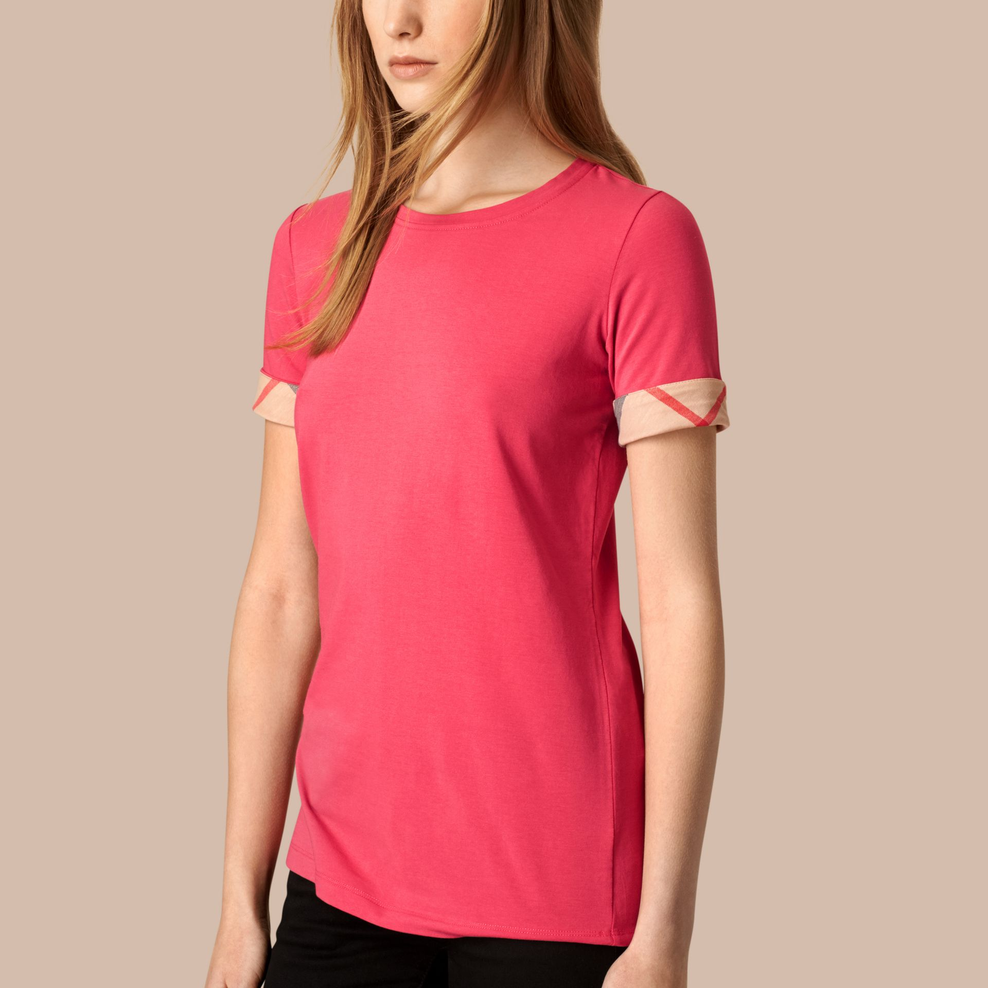 Bright rose Check Cuff Stretch Cotton T-Shirt Bright Rose - gallery image 3