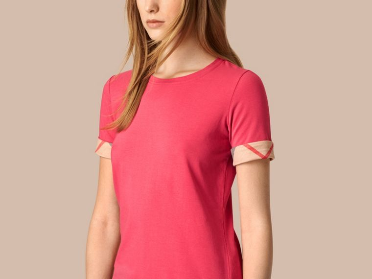 Bright rose Check Cuff Stretch Cotton T-Shirt Bright Rose - cell image 2