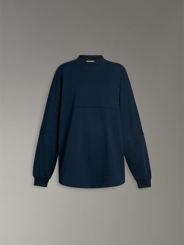 Logo Print Cotton Oversized Top in Navy - Women | Burberry - cell image 3