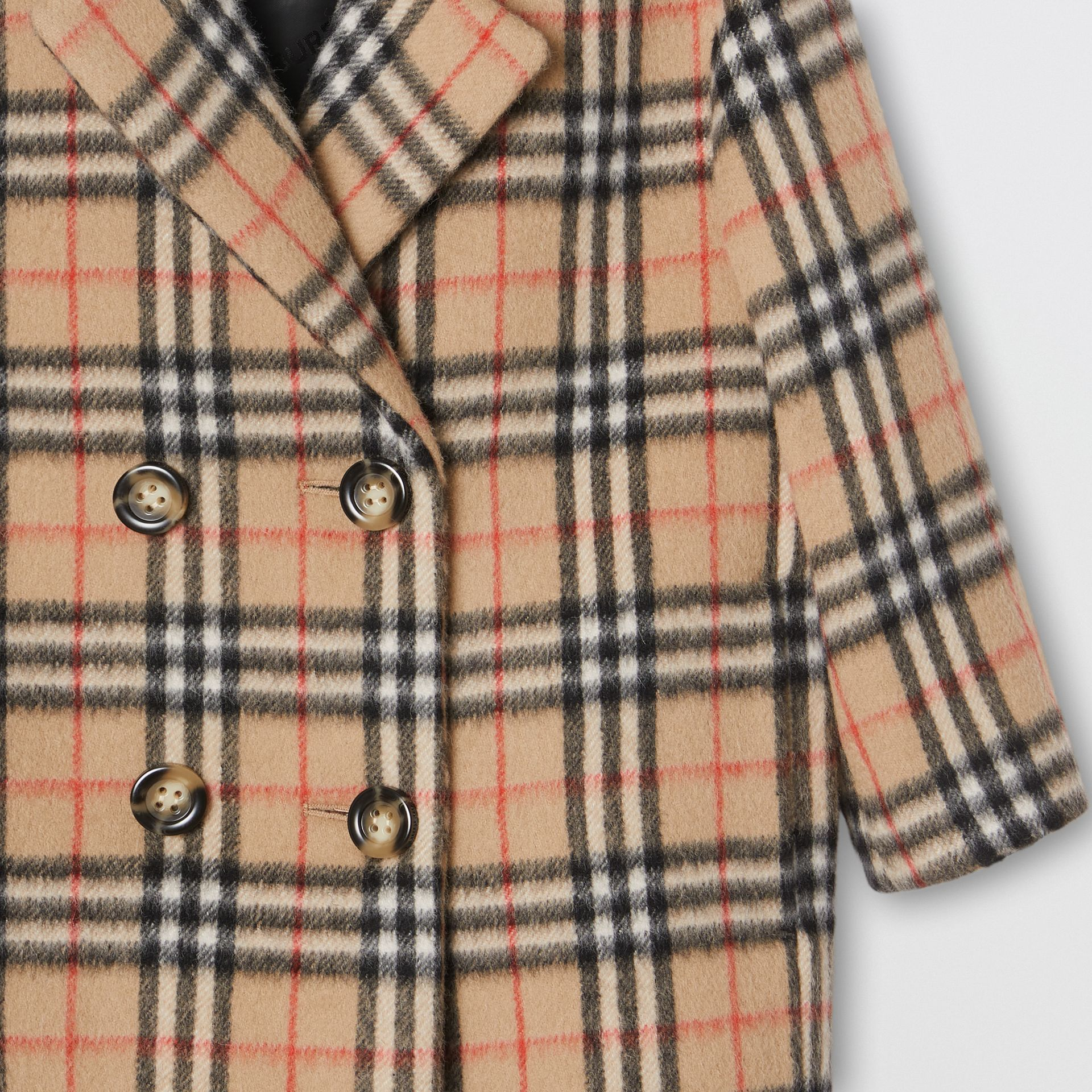Vintage Check Alpaca Wool Blend Pea Coat in Archive Beige | Burberry - gallery image 4