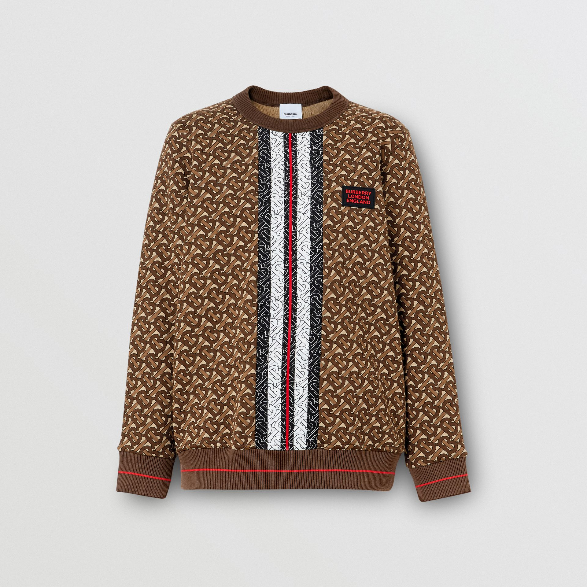 Monogram Stripe Print Cotton Oversized Sweatshirt in Bridle Brown - Women | Burberry - gallery image 3