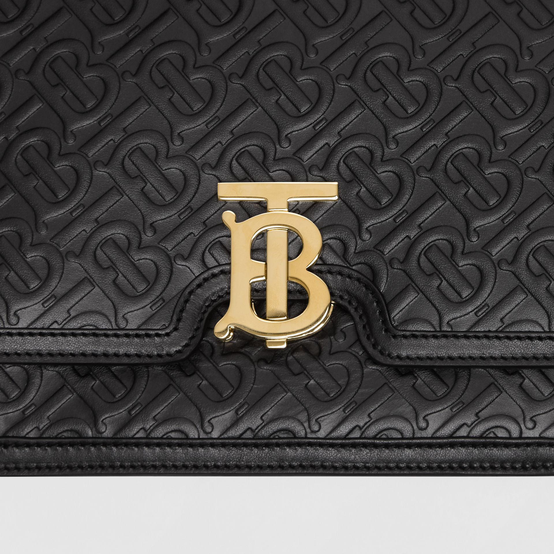 Medium Monogram Leather TB Bag in Black - Women | Burberry Canada - gallery image 1