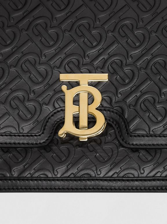 Medium Monogram Leather TB Bag in Black - Women | Burberry United Kingdom - cell image 1