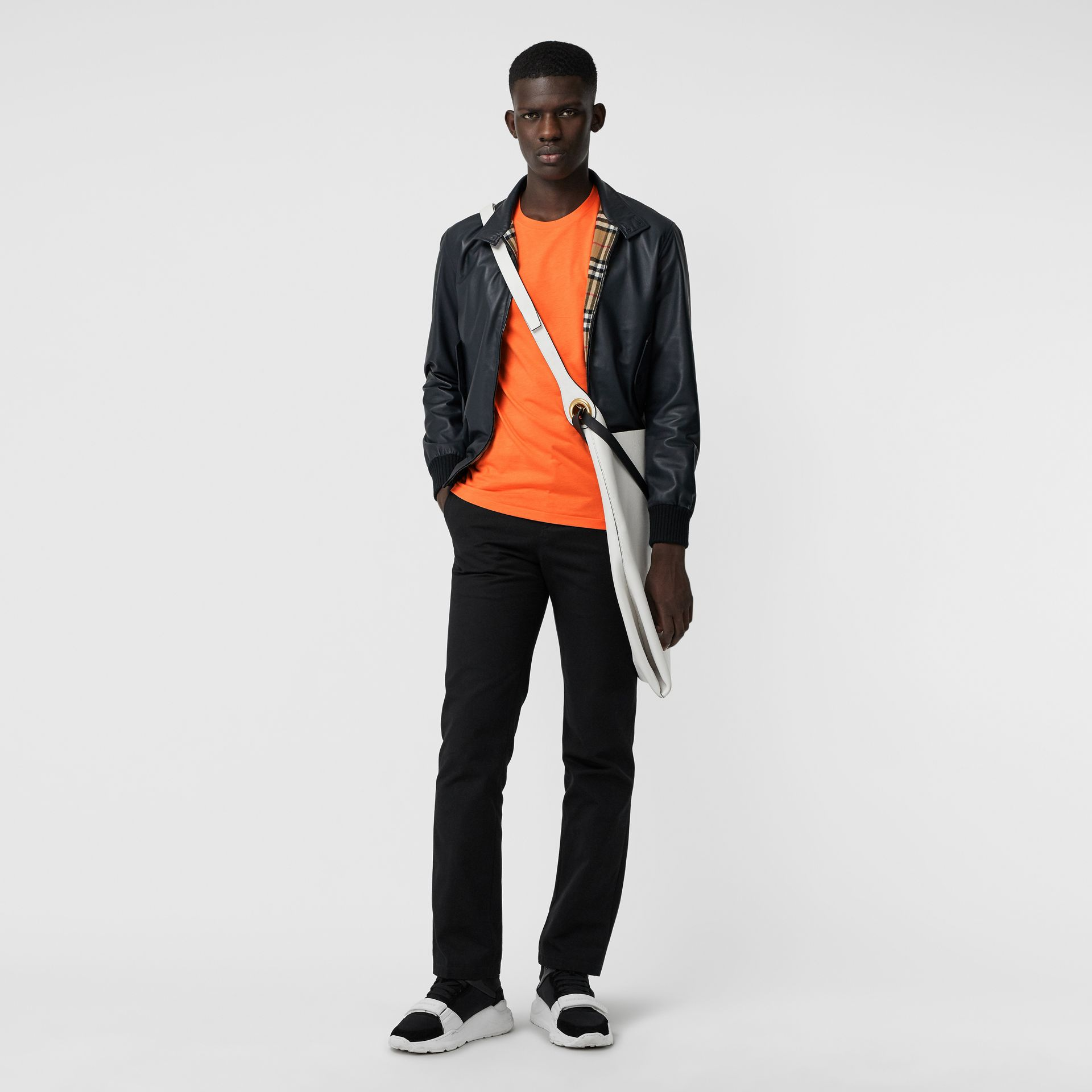 Cotton Jersey T-shirt in Bright Orange - Men | Burberry - gallery image 4