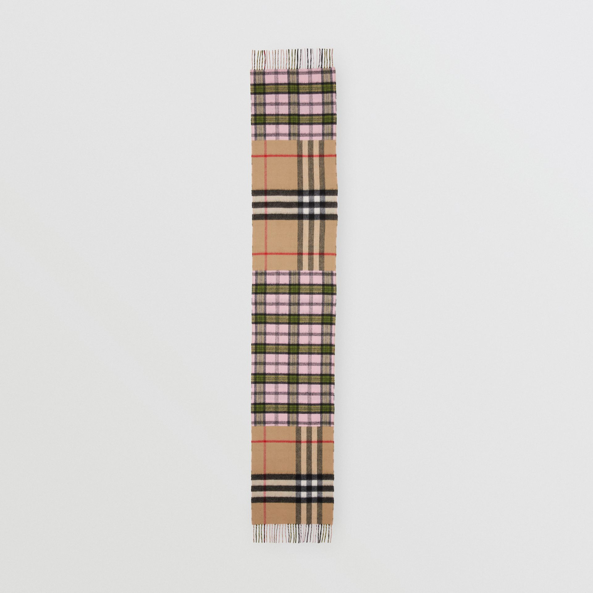 Contrast Check Cashmere Merino Wool Jacquard Scarf in Candy Pink | Burberry United States - gallery image 5