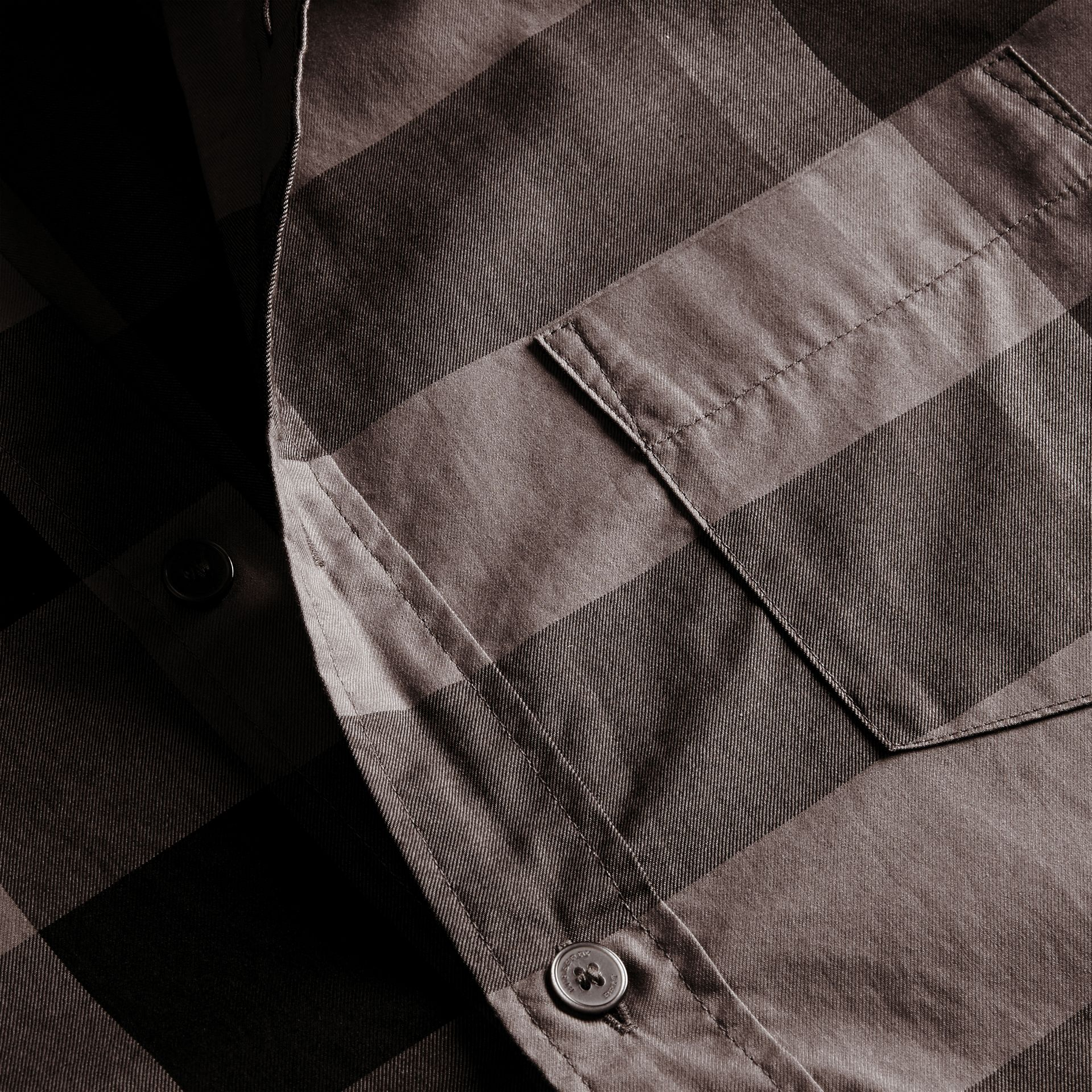 Charcoal Check Cotton Shirt Charcoal - gallery image 2