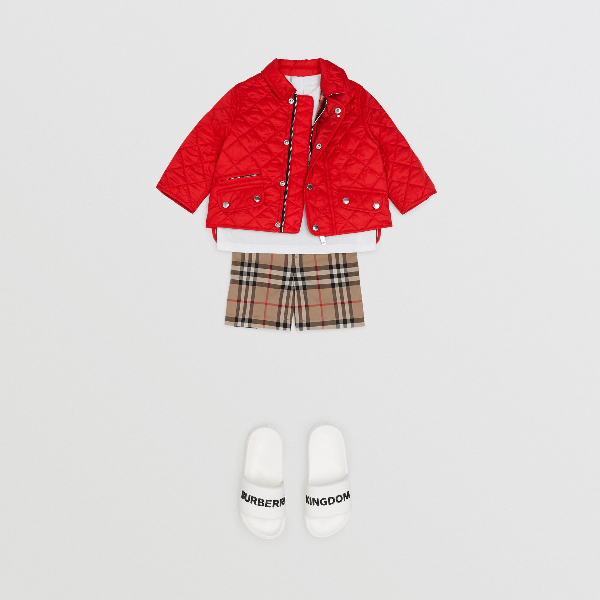 Lightweight Diamond Quilted Jacket in Bright Red - Children | Burberry Australia - gallery image 3