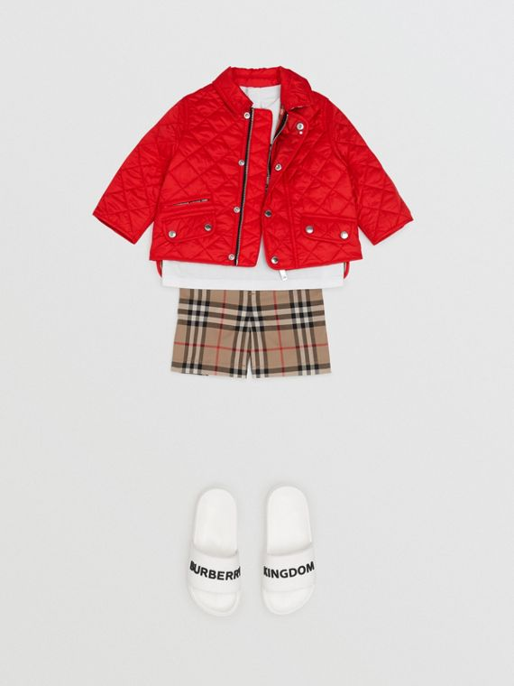 Lightweight Diamond Quilted Jacket in Bright Red