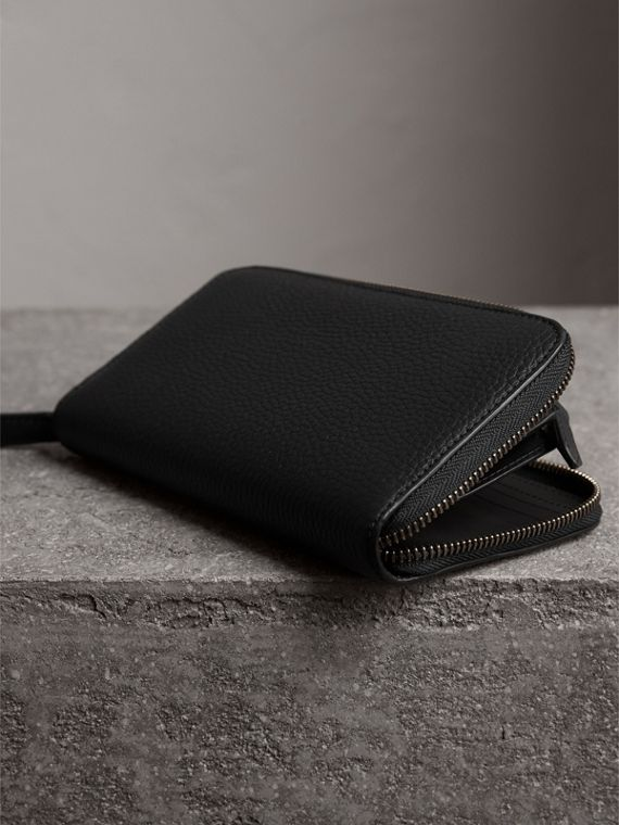 Embossed Grainy Leather Ziparound Wallet in Black - Men | Burberry United Kingdom - cell image 2