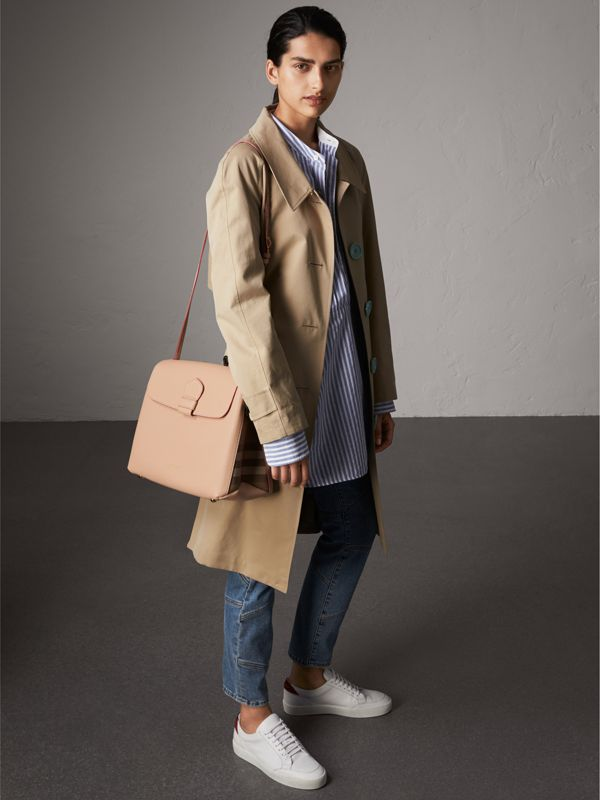 Medium Grainy Leather and House Check Tote Bag in Pale Apricot - Women | Burberry Australia - cell image 2