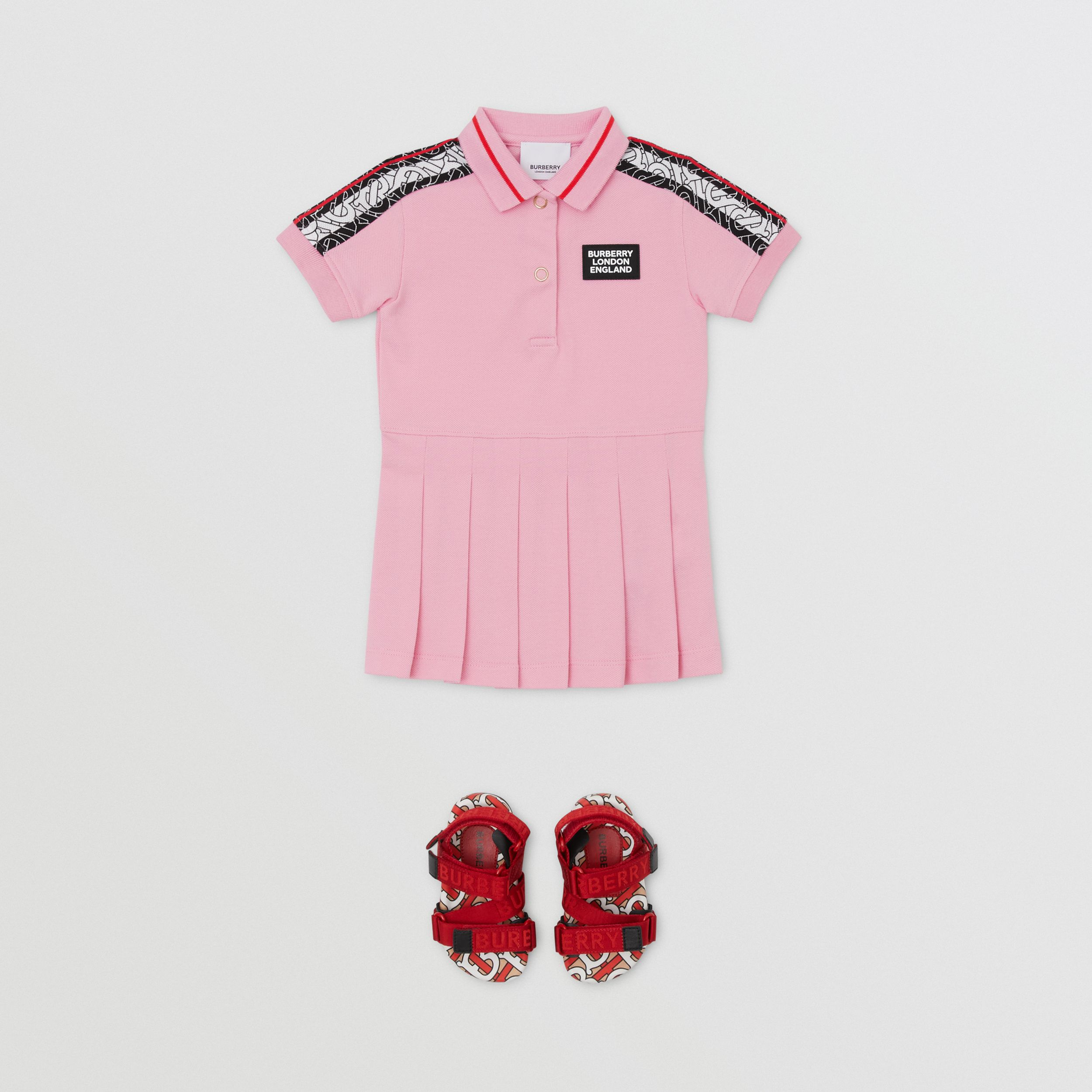 Monogram Stripe Print Cotton Piqué Polo Shirt Dress in Candy Pink - Children | Burberry - 3