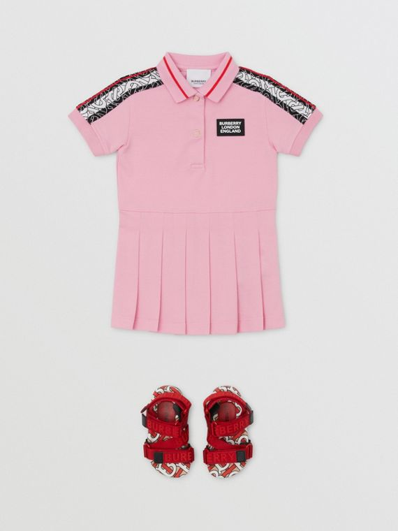 Monogram Stripe Print Cotton Piqué Polo Shirt Dress in Candy Pink