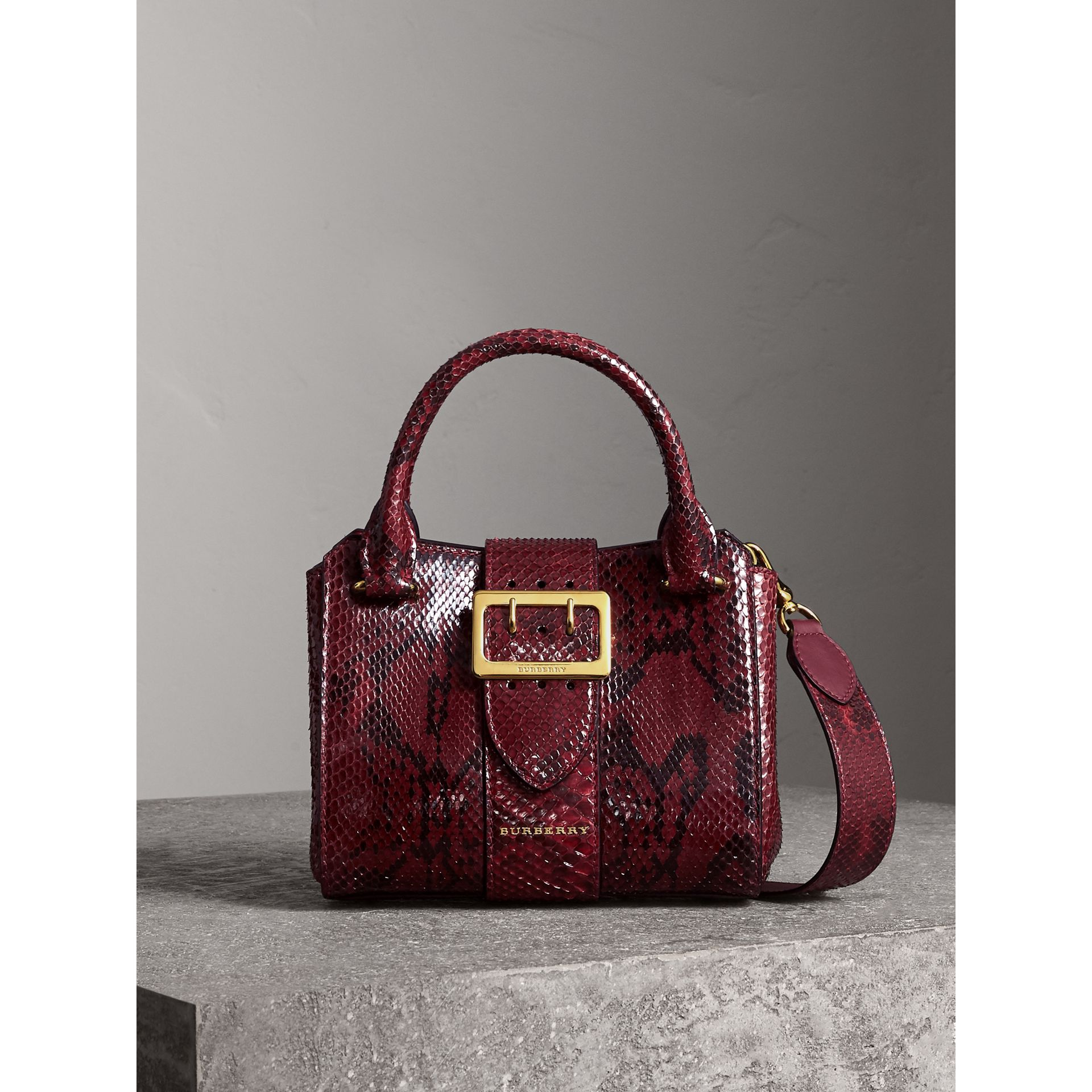 The Small Buckle Tote in Python in Burgundy Red - Women | Burberry - gallery image 0