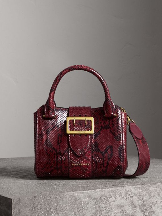 The Small Buckle Tote in Python in Burgundy Red