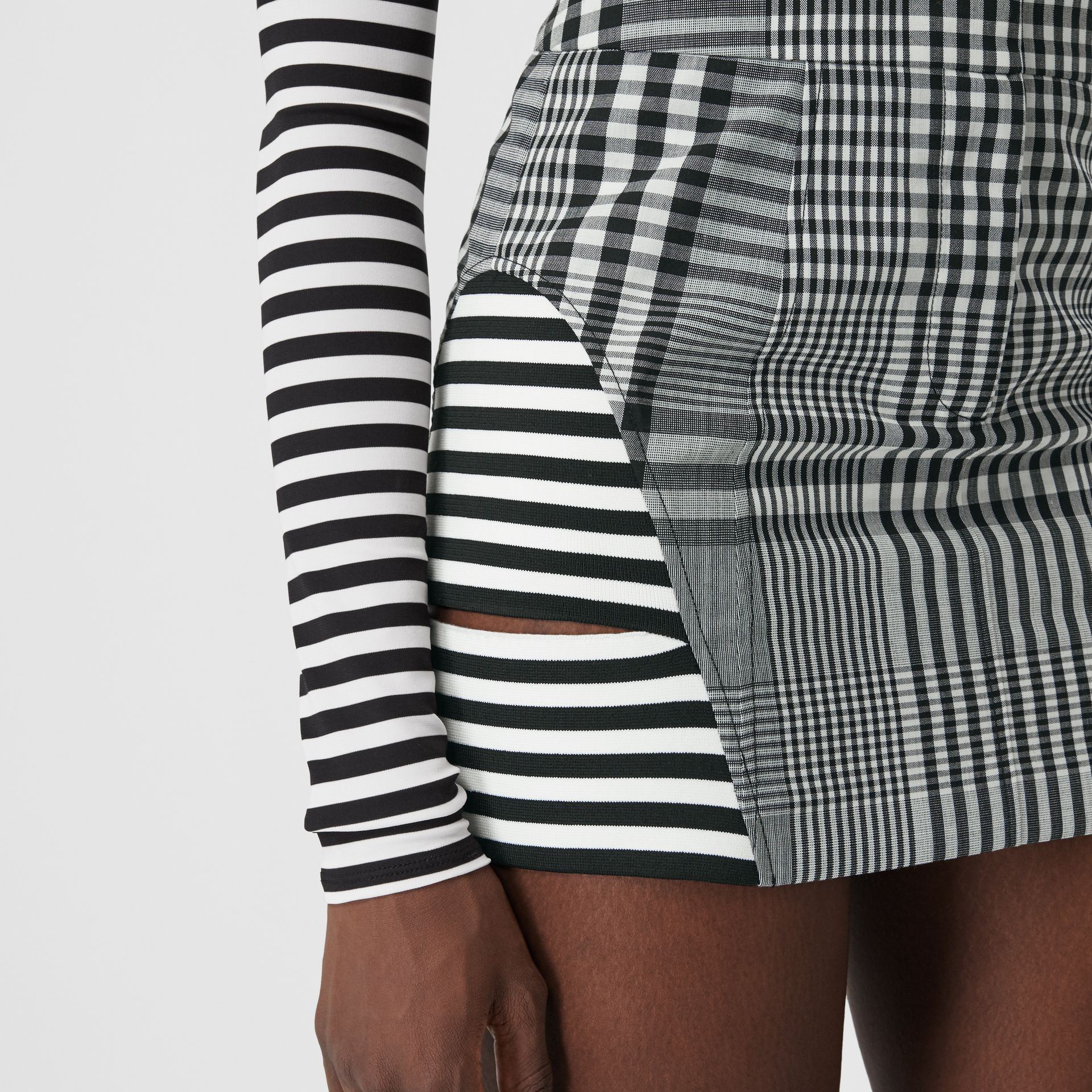 Stripe and Check Technical Wool Mini Skirt in Black - Women | Burberry - gallery image 1