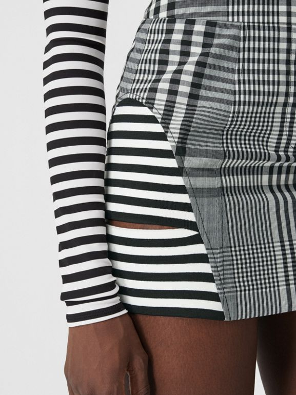 Stripe and Check Technical Wool Mini Skirt in Black - Women | Burberry - cell image 1