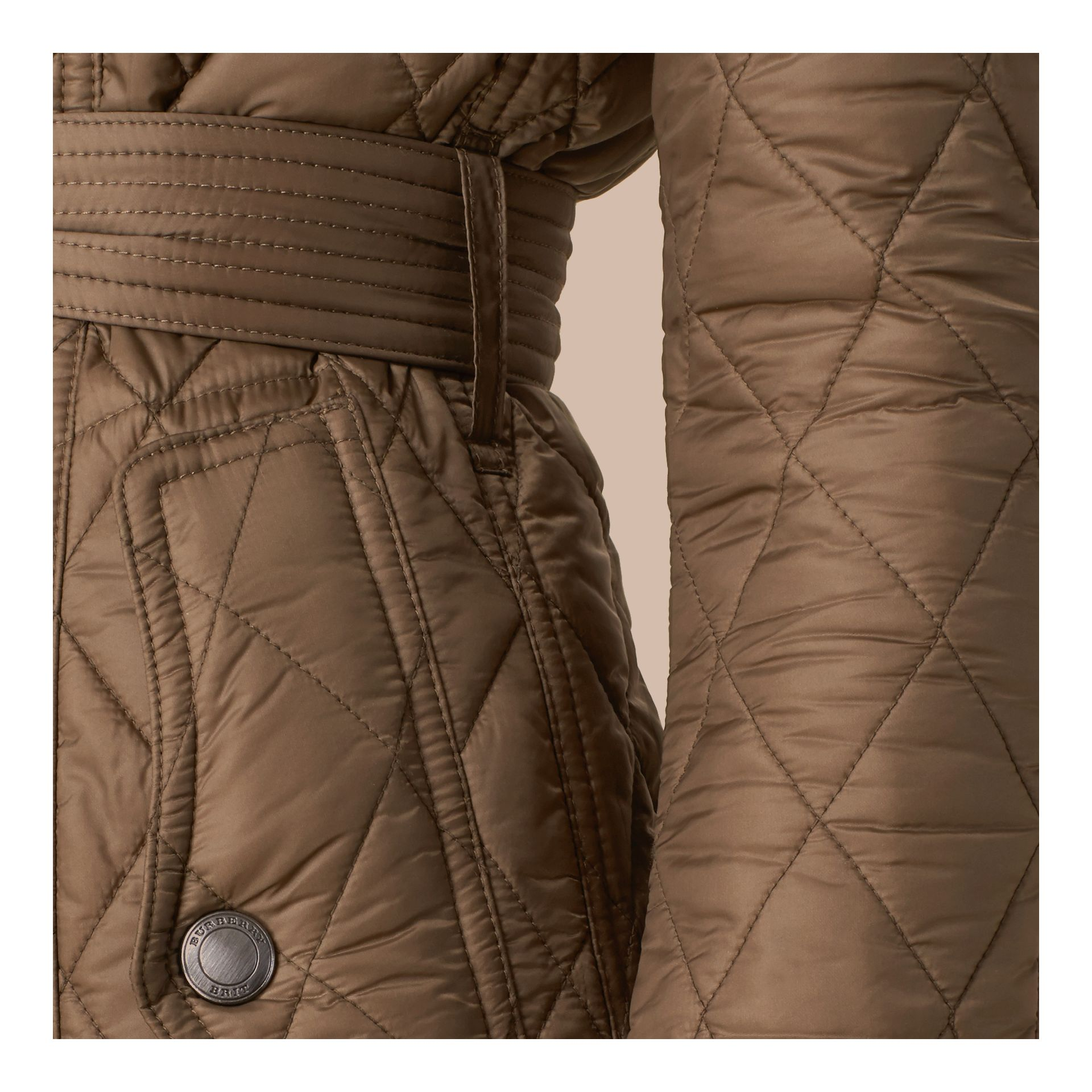 Diamond Quilted Coat Dusty Khaki - gallery image 4