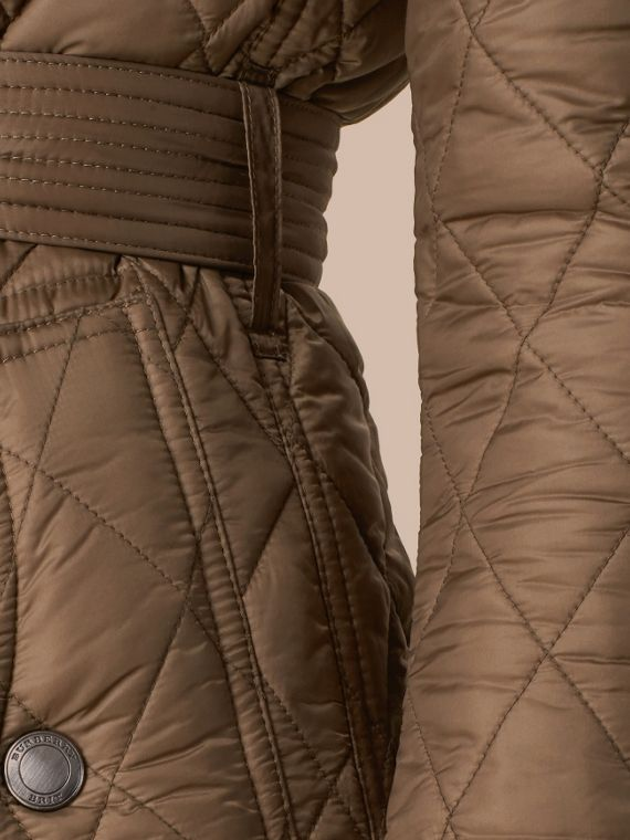 Diamond Quilted Coat Dusty Khaki - cell image 3