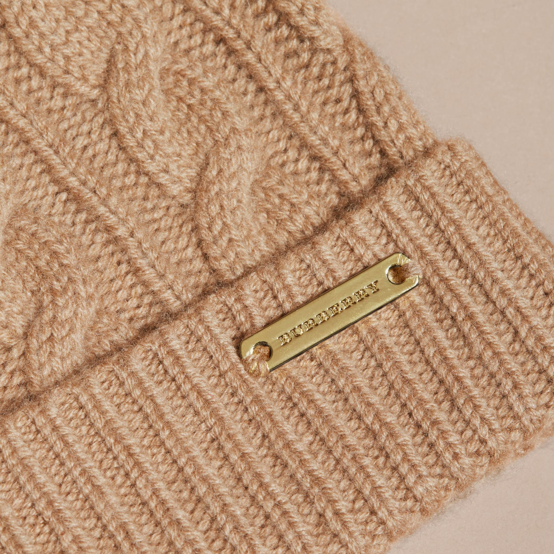 Wool Cashmere Beanie with Fur Pom-Pom in Camel - gallery image 2