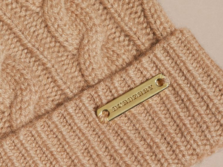 Wool Cashmere Beanie with Fur Pom-Pom Camel - cell image 1