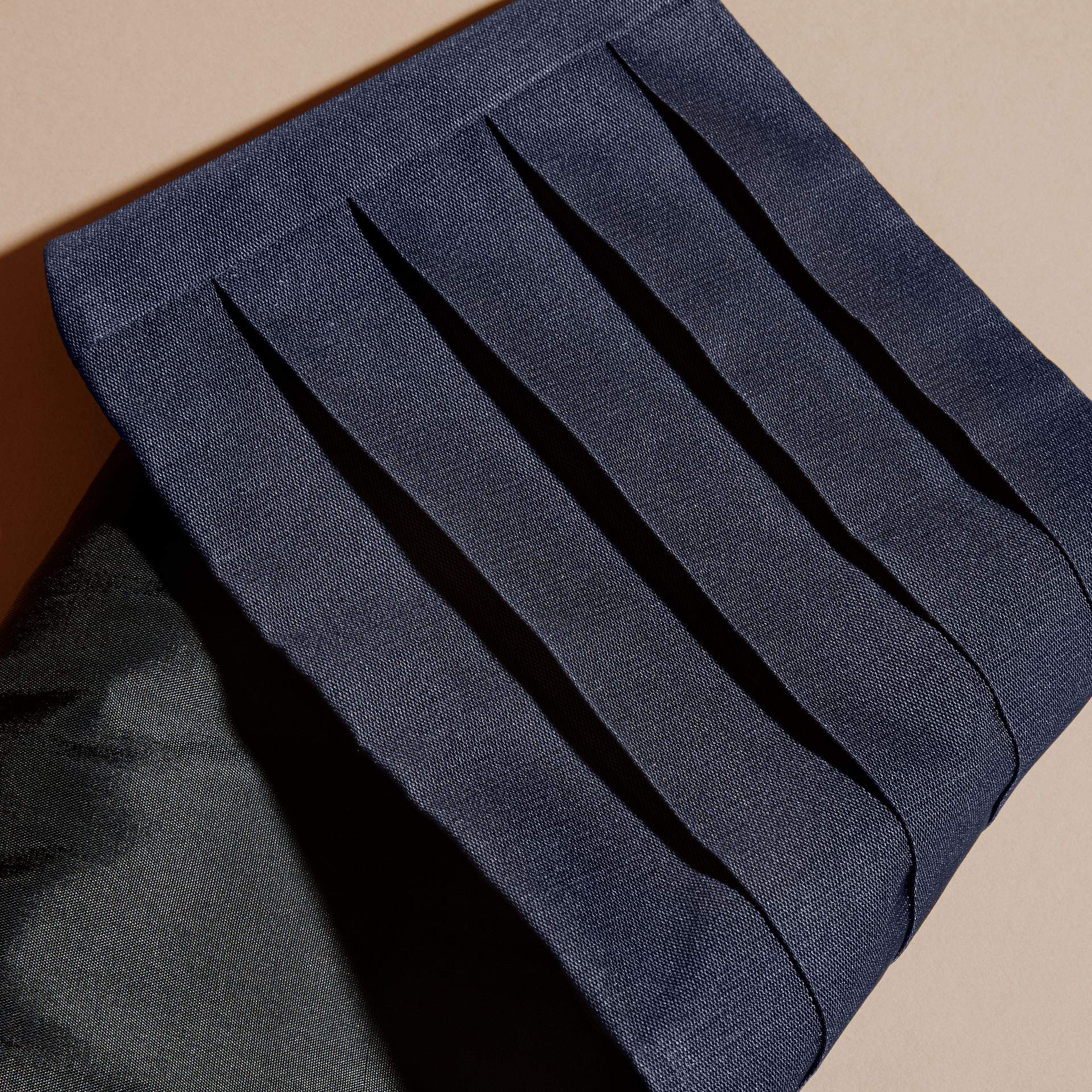 Pleated Silk Cummerbund in Midnight - Men | Burberry - gallery image 2