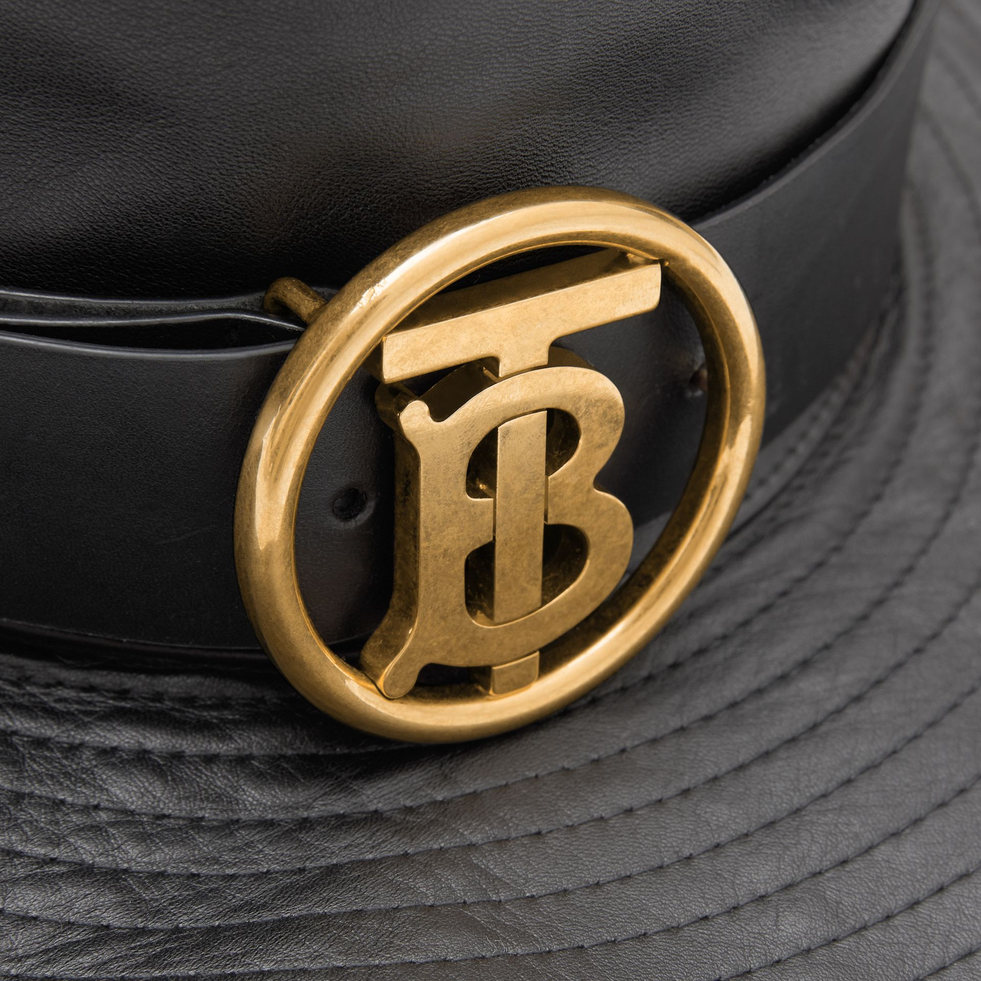 Monogram Motif Belt Detail Lambskin Desert Hat in Black | Burberry - gallery image 1