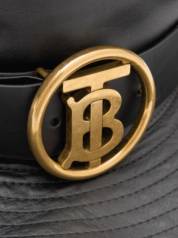 Monogram Motif Belt Detail Lambskin Desert Hat in Black | Burberry - cell image 1