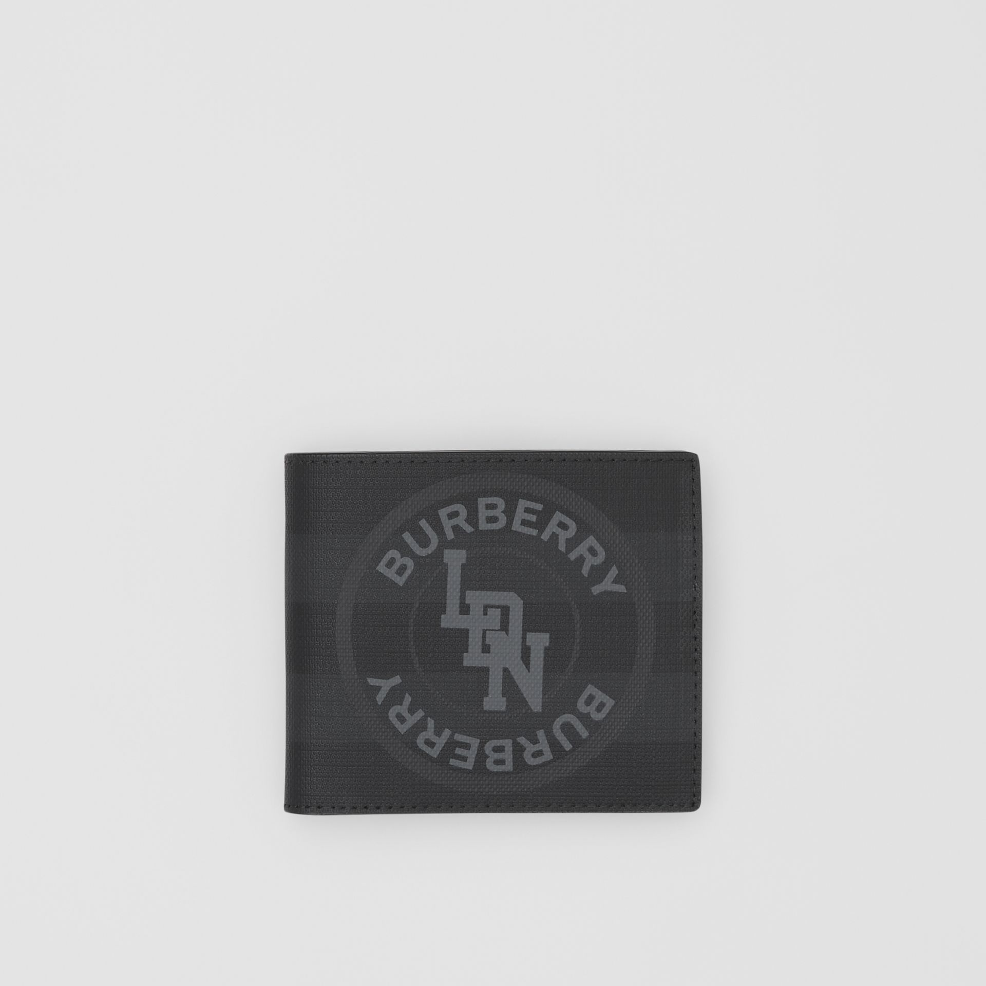 Logo Graphic International Bifold Coin Wallet in Dark Charcoal - Men | Burberry United Kingdom - gallery image 0