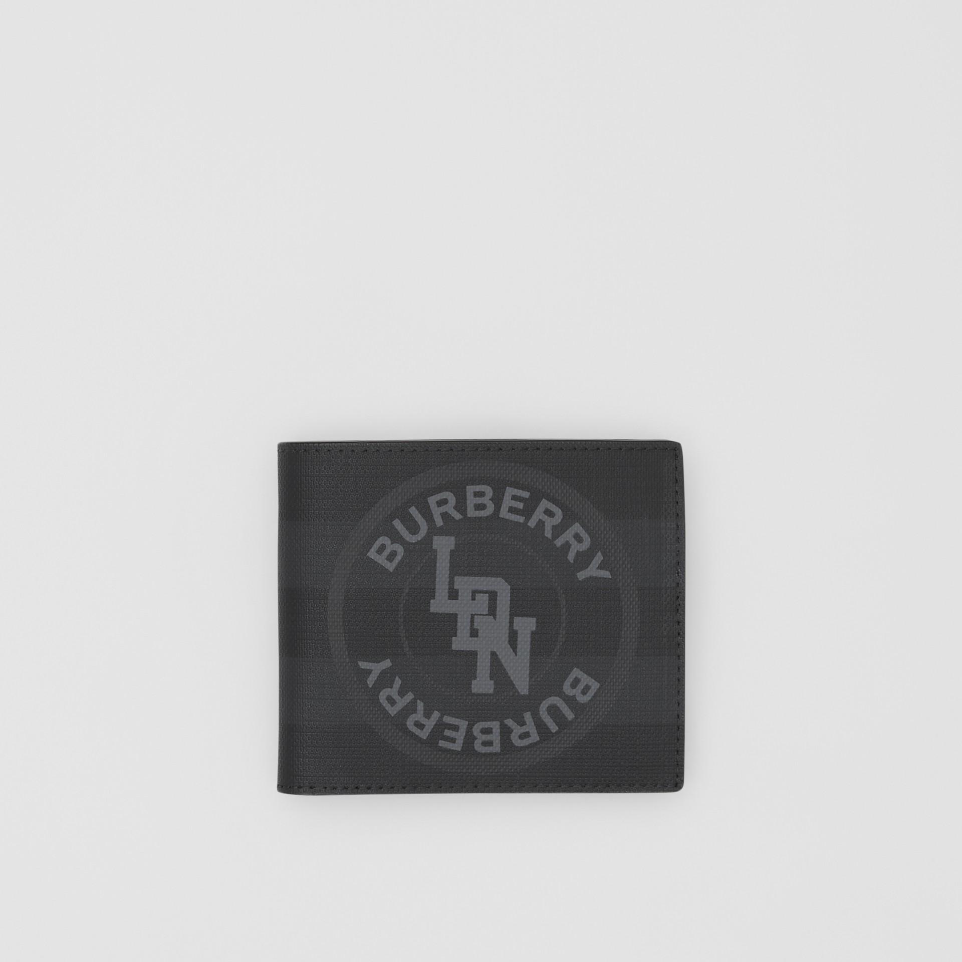 Logo Graphic International Bifold Coin Wallet in Dark Charcoal - Men | Burberry - gallery image 0