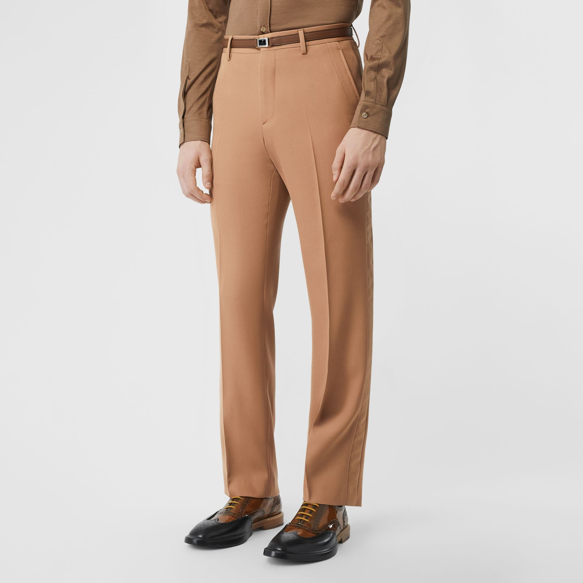 Stripe Detail Wool Tailored Trousers in Warm Camel - Men | Burberry - gallery image 4