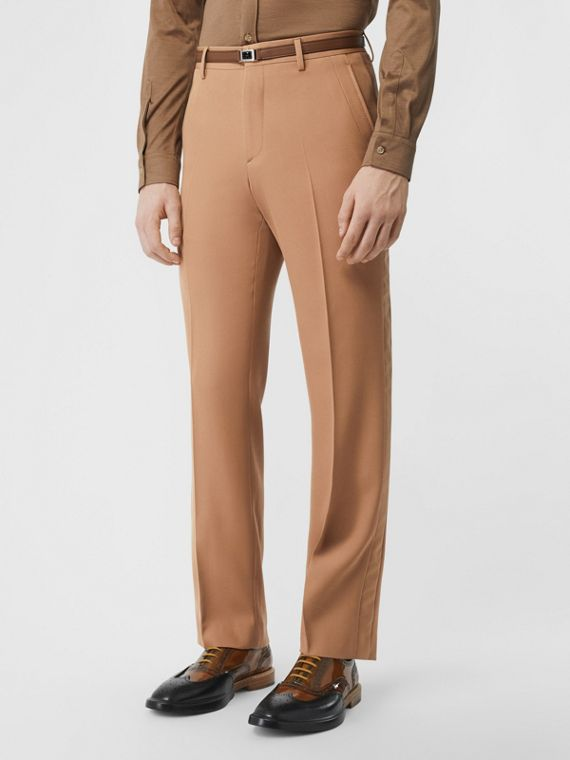 Stripe Detail Wool Tailored Trousers in Warm Camel