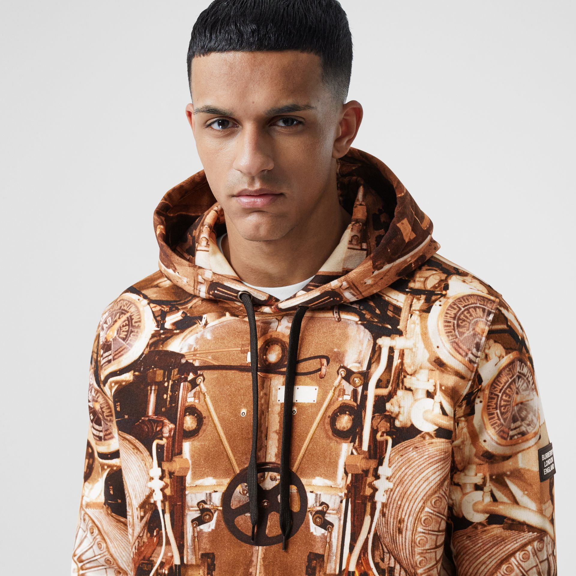 Submarine Print Cotton Hoodie in Bronze - Men | Burberry Hong Kong S.A.R - gallery image 1