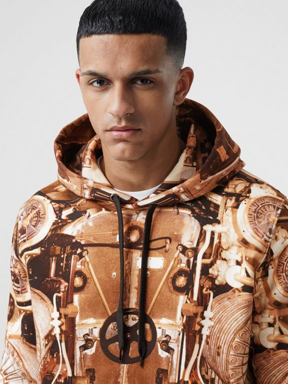 Submarine Print Cotton Hoodie in Bronze - Men | Burberry Hong Kong S.A.R - cell image 1