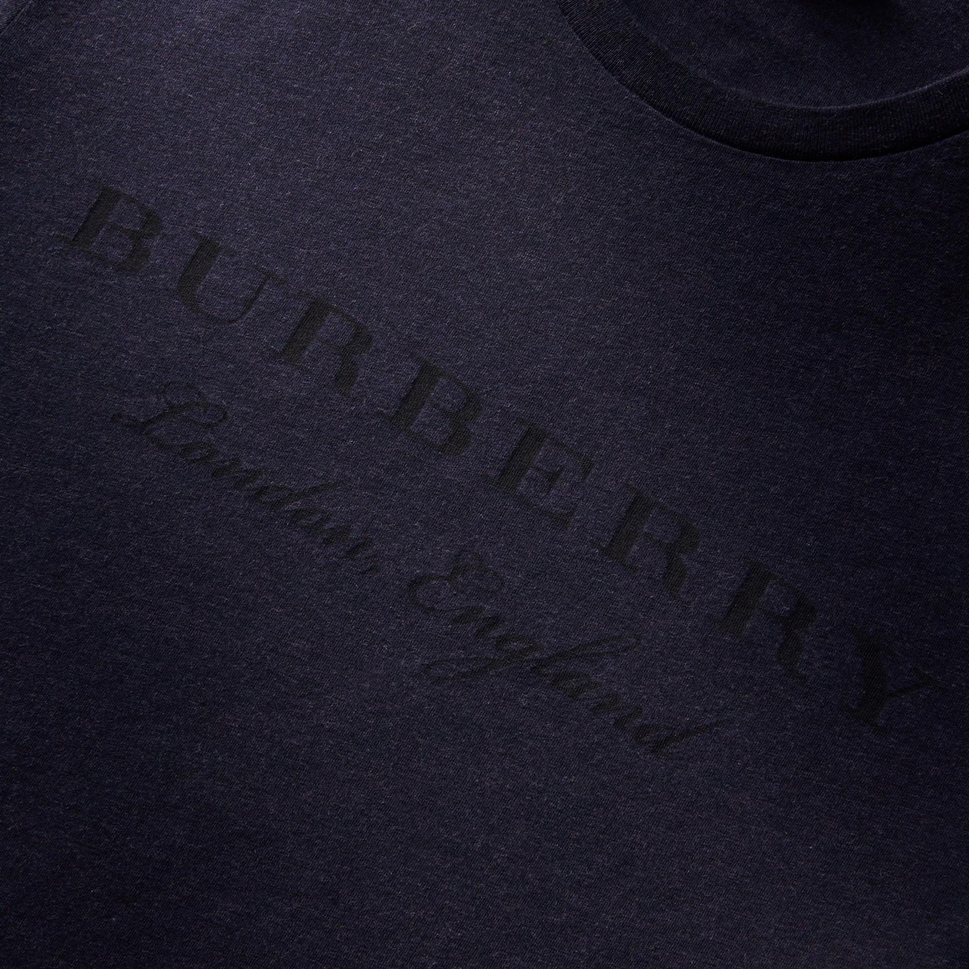 Contrast Motif Cotton Blend T-shirt Navy Melange - gallery image 2