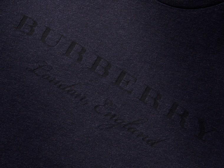 Contrast Motif Cotton Blend T-shirt Navy Melange - cell image 1