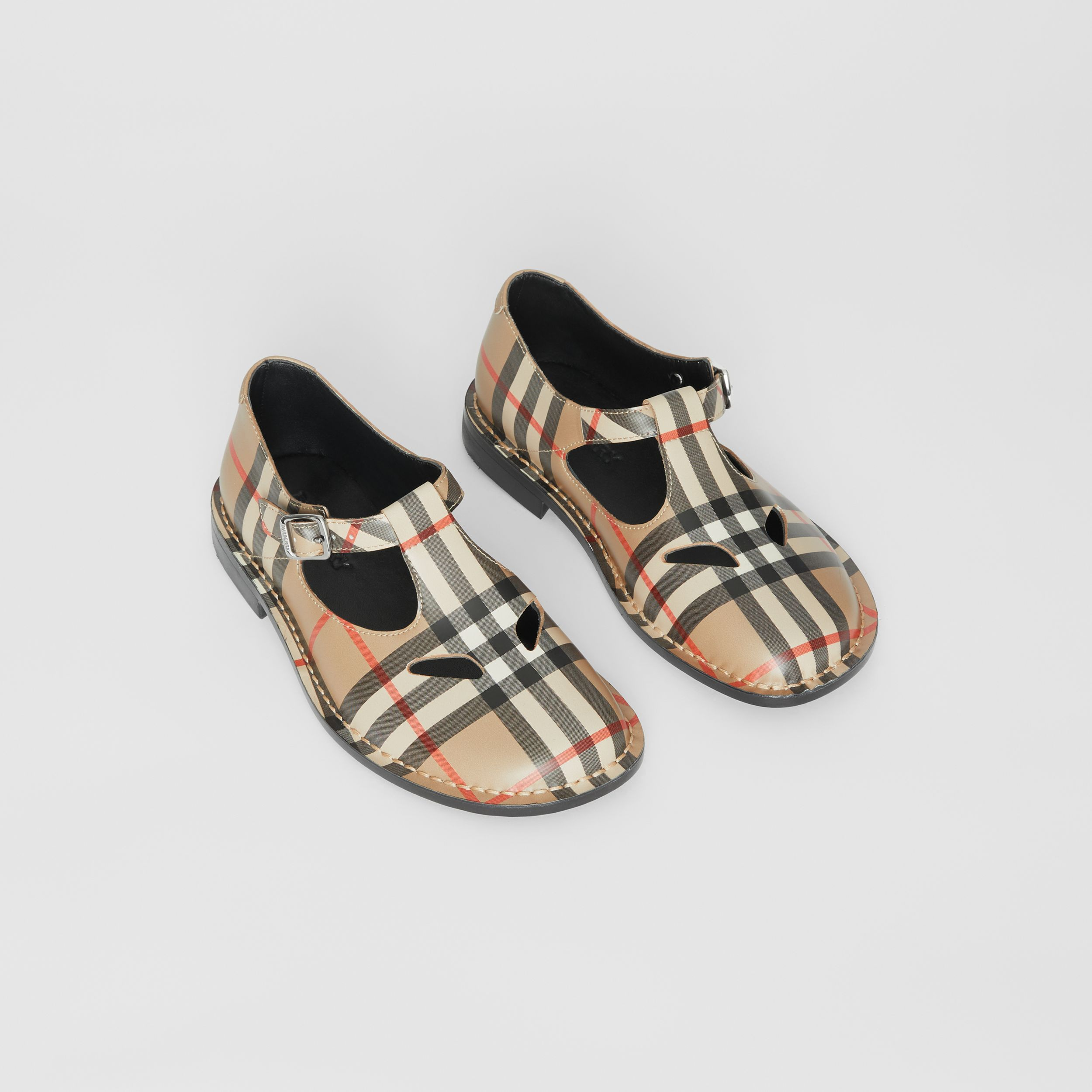 Vintage Check Leather Mary Jane Shoes in Archive Beige - Children | Burberry - 1