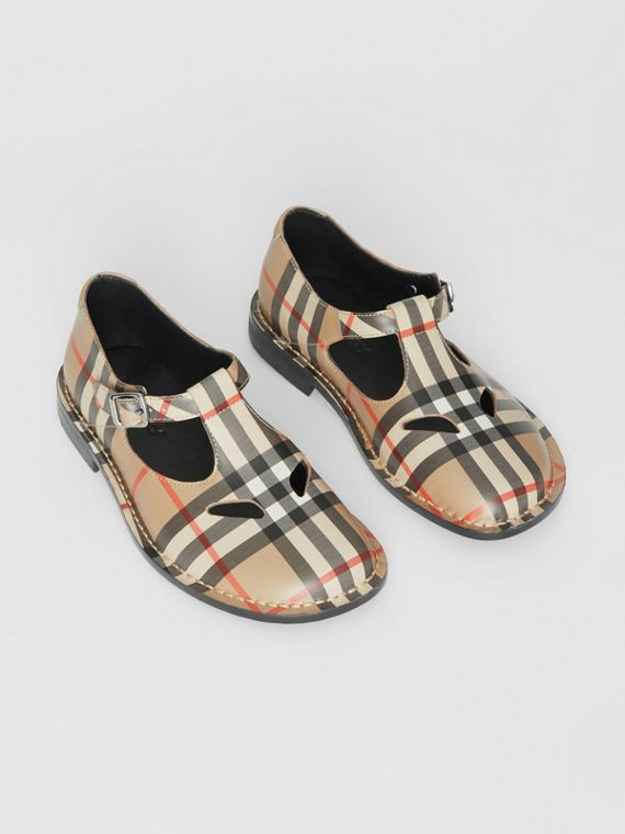 Vintage Check Leather Mary Jane Shoes in Archive Beige