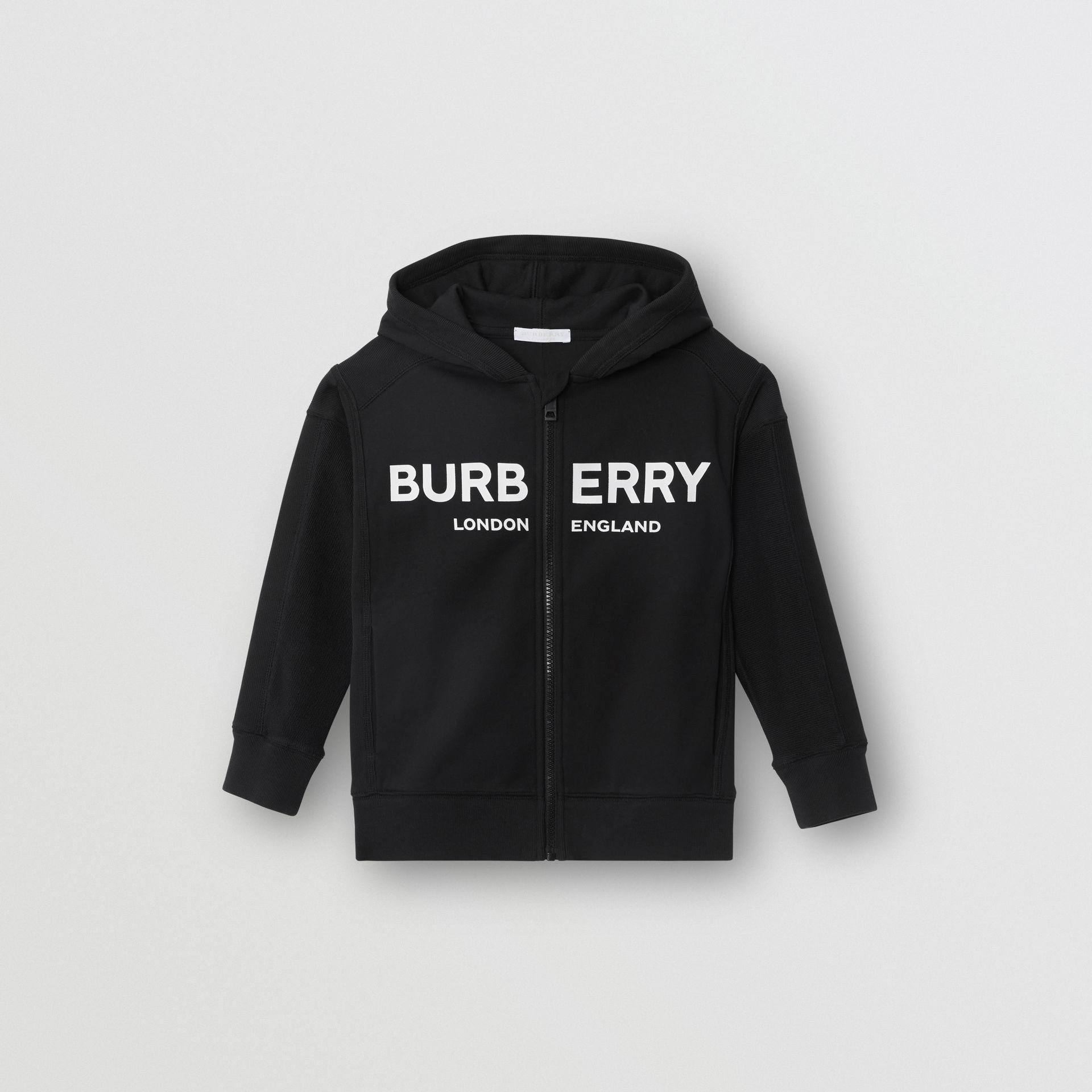 Logo Print Cotton Hooded Top in Black | Burberry - gallery image 0
