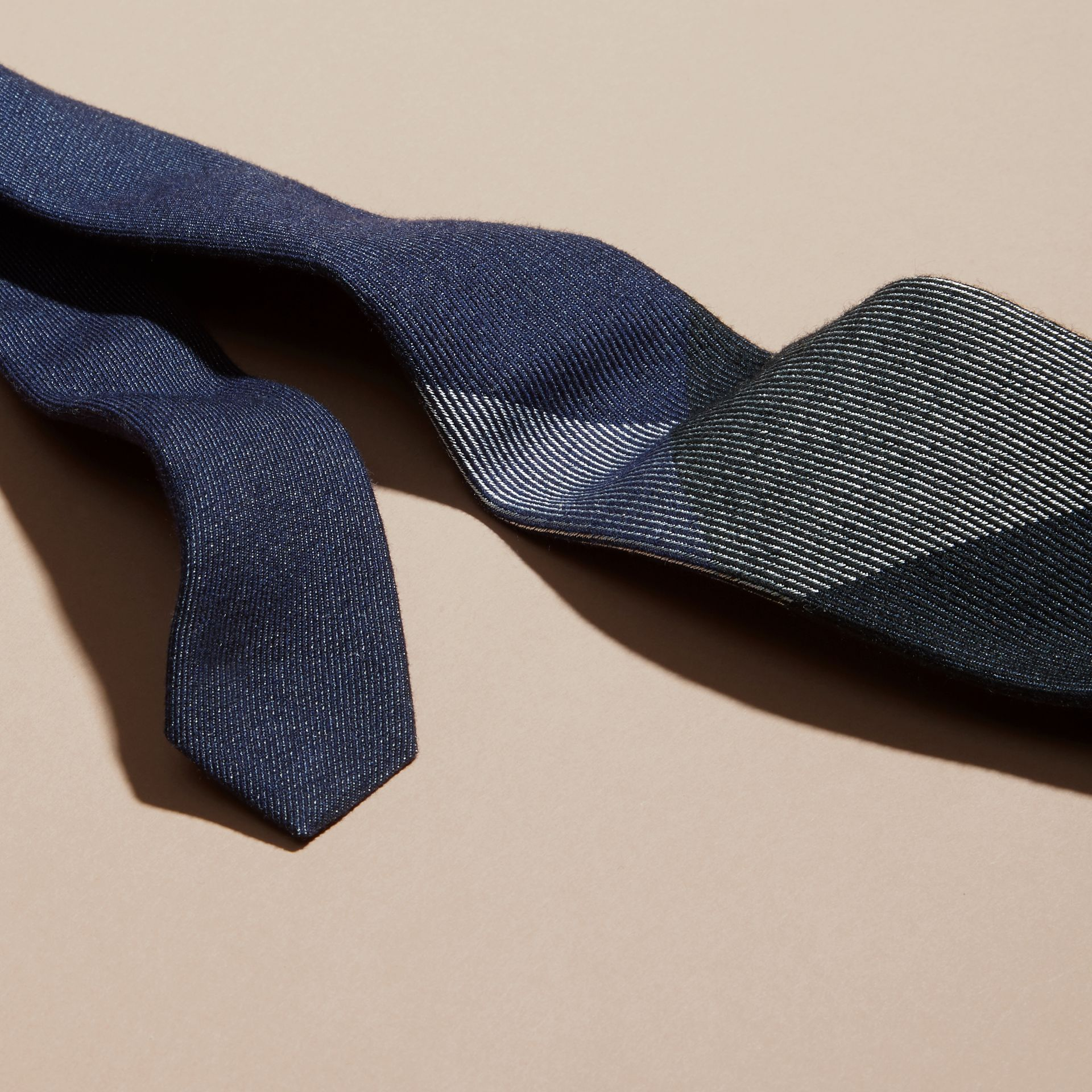 Navy Modern Cut Check Cashmere Silk Tie Navy - gallery image 2
