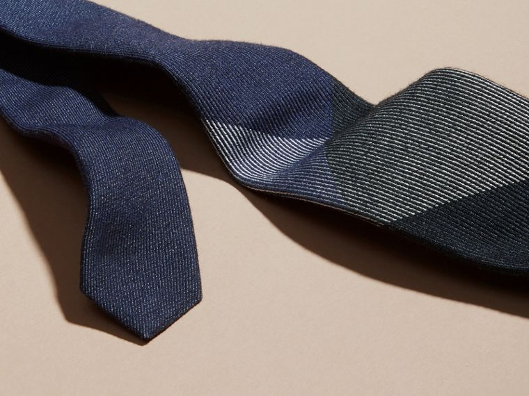 Navy Modern Cut Check Cashmere Silk Tie Navy - cell image 1