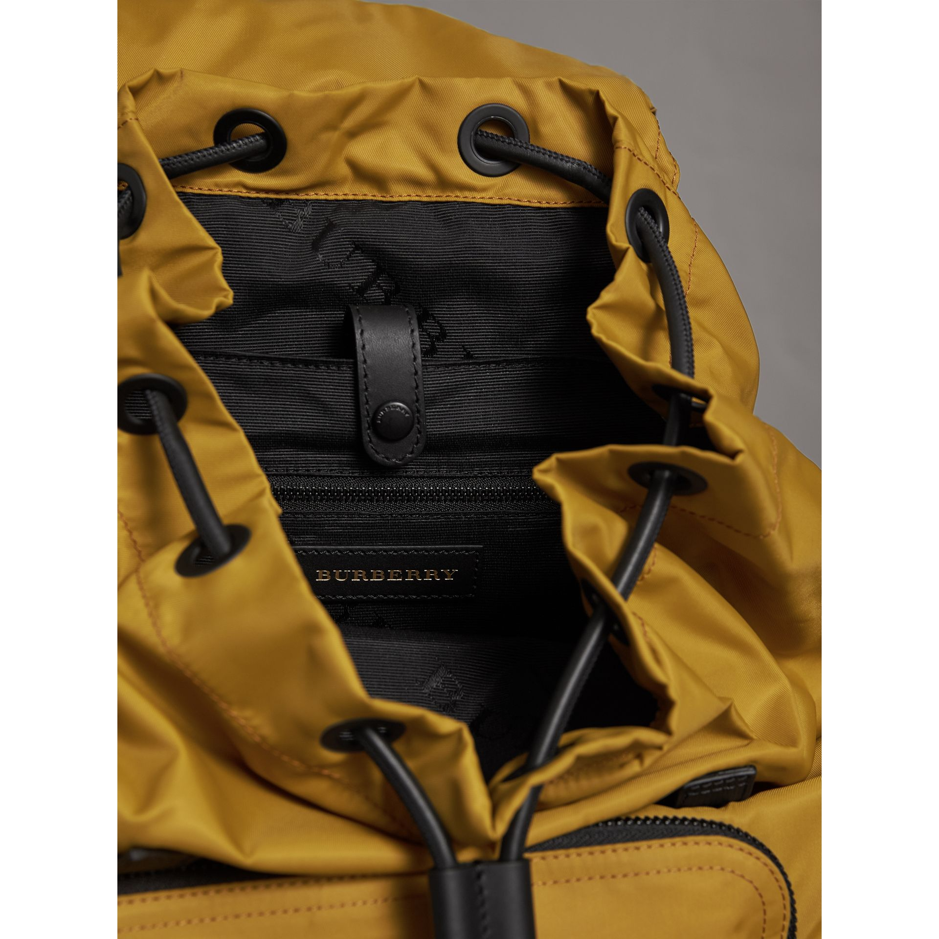 The Large Rucksack in Technical Nylon and Leather in Ochre Yellow - Men | Burberry - gallery image 5