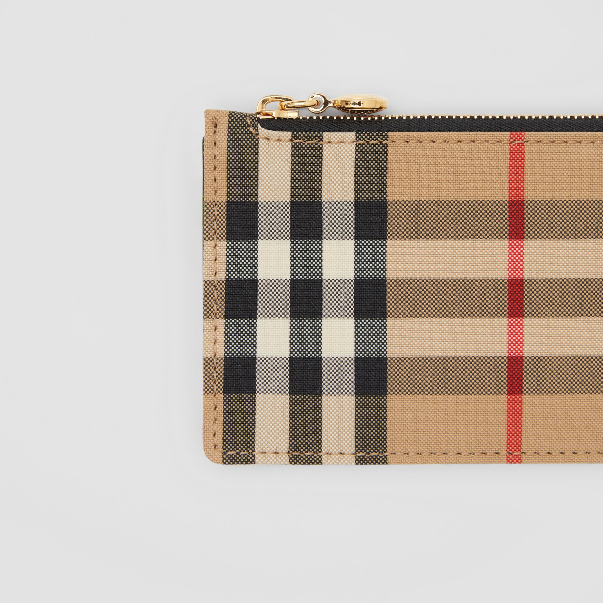 Vintage Check and Leather Zip Card Case in Black - Women | Burberry Canada - gallery image 1