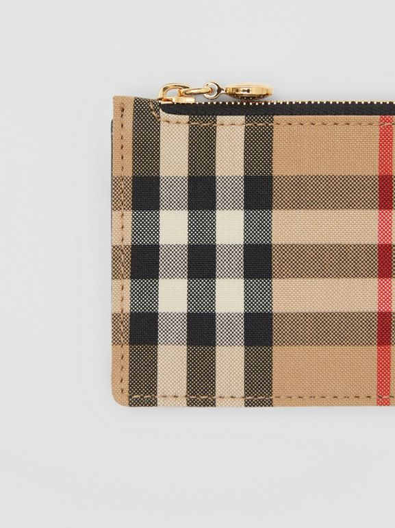 Vintage Check and Leather Zip Card Case in Black - Women | Burberry Canada - cell image 1