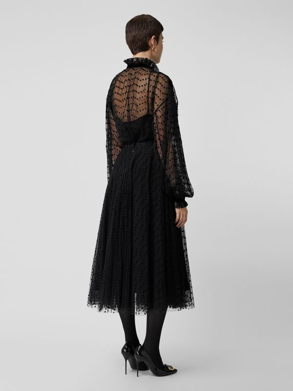 Polka-dot Flock Tulle Skirt in Black - Women | Burberry United States - cell image 2