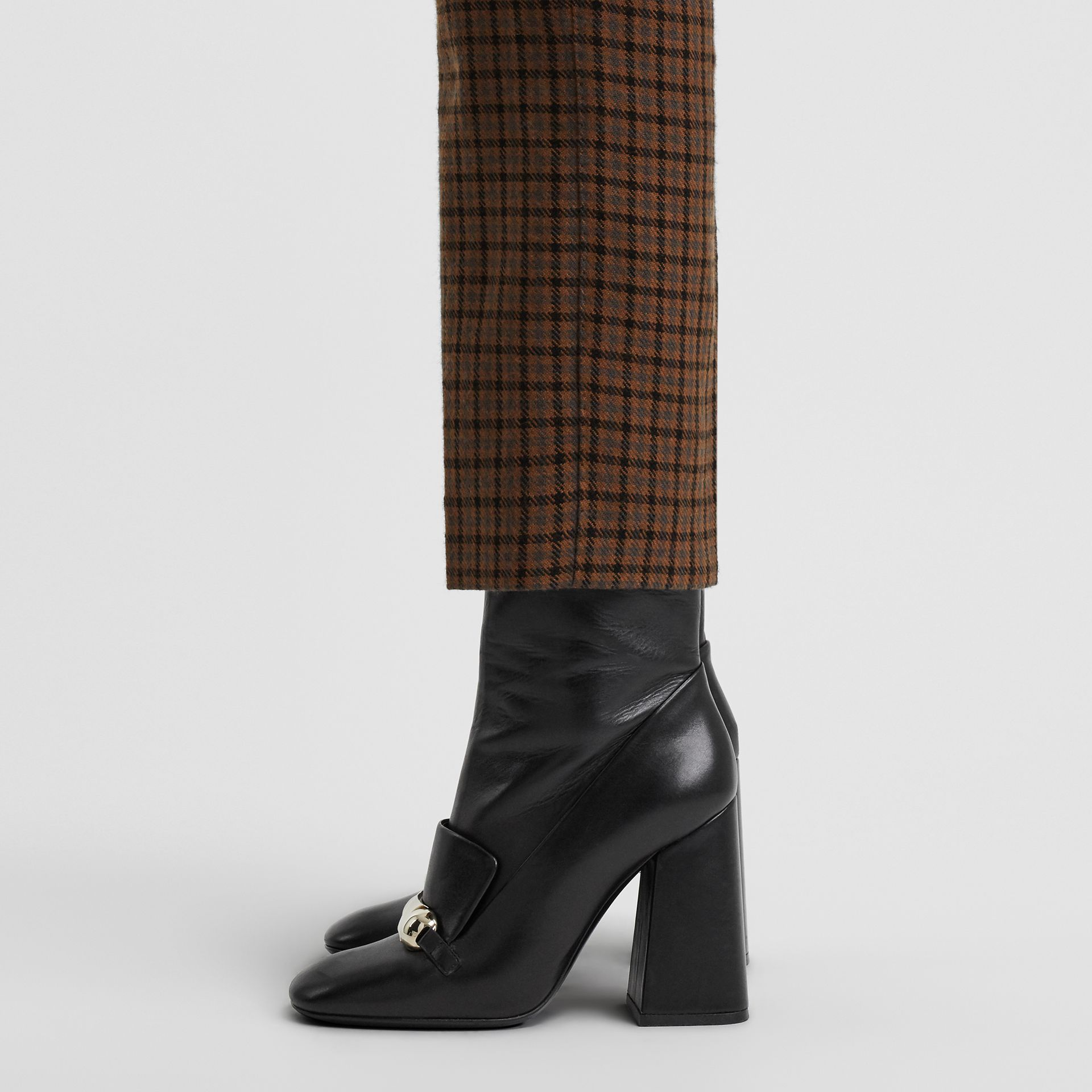 Studded Bar Detail Leather Ankle Boots in Black - Women | Burberry - gallery image 2